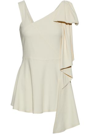 MARNI Asymmetric draped crepe peplum top
