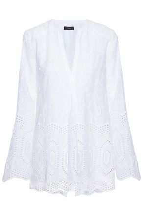 THEORY Broderie anglaise cotton-poplin top