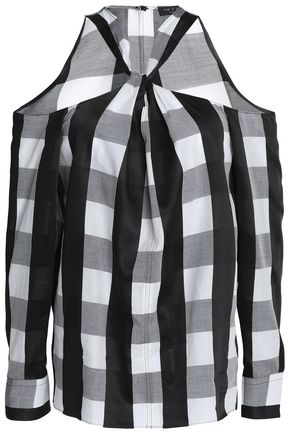 RAG & BONE Cold-shoulder twist-front checked poplin shirt