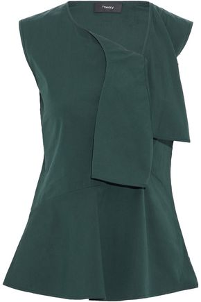 THEORY Draped cotton-blend peplum top