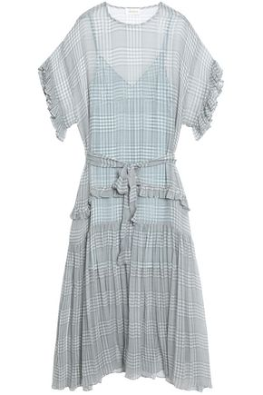 ZIMMERMANN Cavalier ruffle-trimmed checked silk-georgette maxi dress