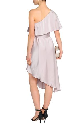 ZIMMERMANN Asymmetric ruffled washed-silk dress