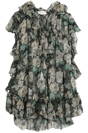 ZIMMERMANN Ruffled floral-print fil coupé silk-blend blouse