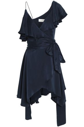 ZIMMERMANN Asymmetric ruffled washed-silk wrap dress