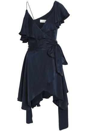 ZIMMERMANN Asymmetric ruffled washed-silk wrap mini dress