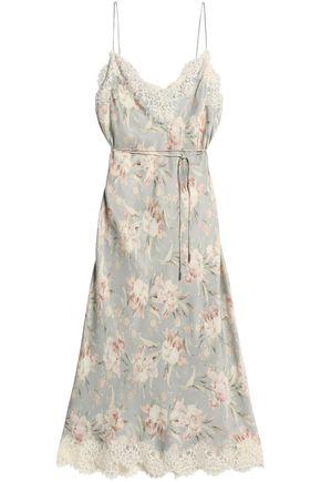 ZIMMERMANN Lace-trimmed floral-print crepe de chine midi dress