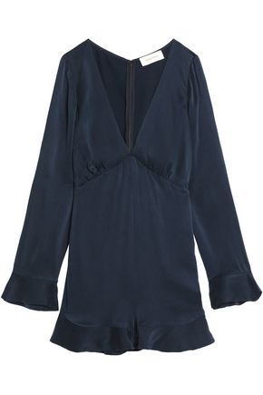 ZIMMERMANN Pleated washed-silk playsuit