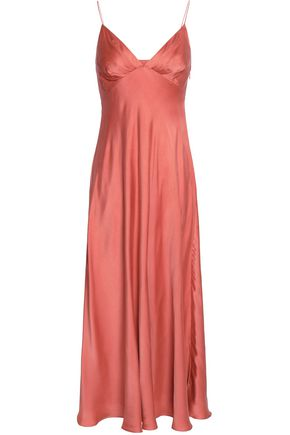 ZIMMERMANN Fluted washed silk-satin midi slip dress