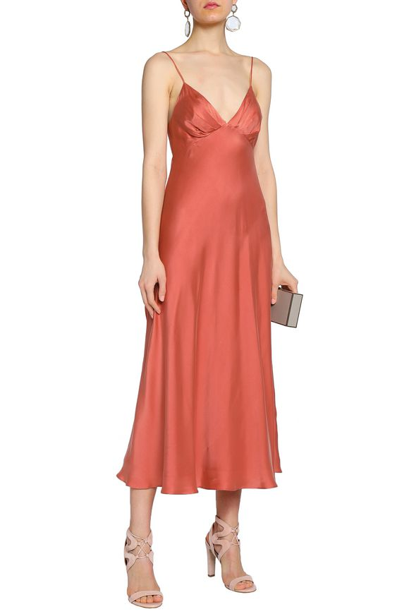 93e5358aa07d4 Fluted washed silk-satin midi slip dress | ZIMMERMANN | Sale up to ...