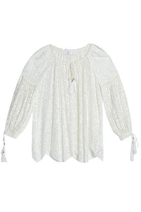 ZIMMERMANN Gathered embroidered silk-chiffon blouse