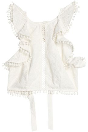 ZIMMERMANN Ruffled broderie anglaise cotton halterneck top