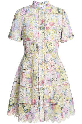ZIMMERMANN Lattice-trimmed floral-print broderie anglaise cotton mini dress