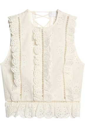 ZIMMERMANN Lace-up broderie anglaise linen and cotton-blend blouse