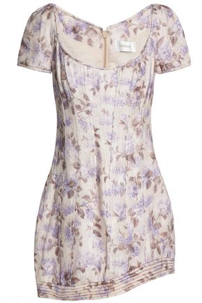 ZIMMERMANN Asymmetric floral-print linen mini dress