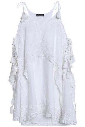 ANTIK BATIK Broderie anglaise-paneled cotton mini dress