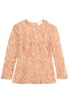 ZIMMERMANN Embroidered cotton and silk-blend gauze blouse