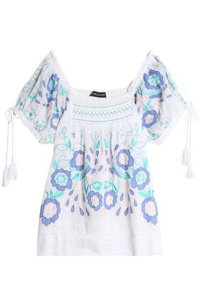 ANTIK BATIK Smocked embroidered cotton-voile blouse