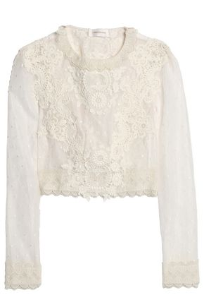 ZIMMERMANN Crochet-appliquéd Swiss-dot tulle blouse