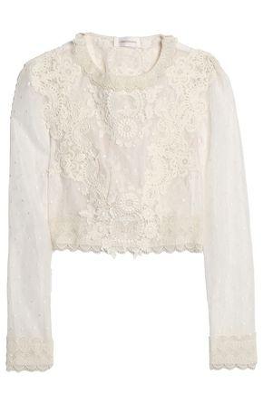 ZIMMERMANN Guipure lace-appliquéd swiss dot top