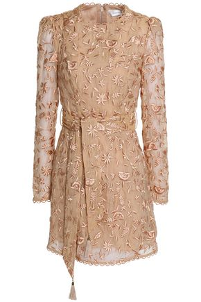 ZIMMERMANN Belted embroidered cotton and silk-blend gauze mini dress