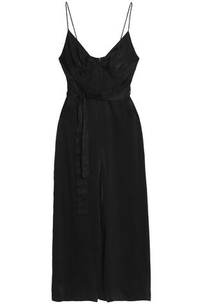ZIMMERMANN Cropped belted washed-silk wide-leg jumpsuit