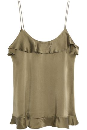 ZIMMERMANN Ruffled-trimmed washed silk top