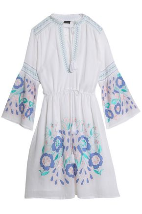 ANTIK BATIK Smocked embroidered cotton-voile dress