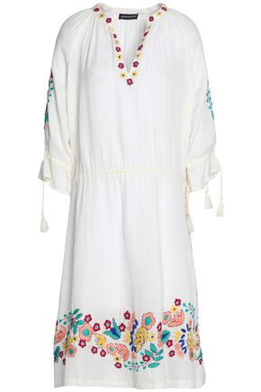 ANTIK BATIK Embroidered cotton-gauze dress
