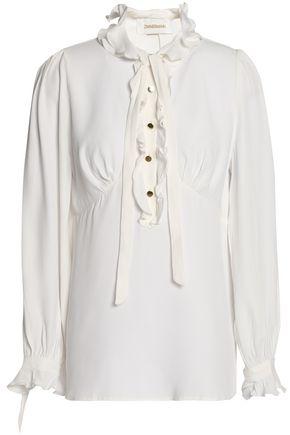 ZIMMERMANN Ruffle-trimmed crepe de chine blouse