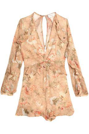 ZIMMERMANN Ruffle-trimmed floral-print crinkled silk-chiffon playsuit