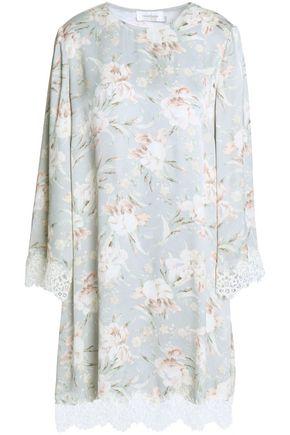ZIMMERMANN Floral-print lace-trimmed satin mini dress