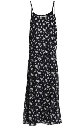 VINCE. Floral-print silk-georgette midi dress