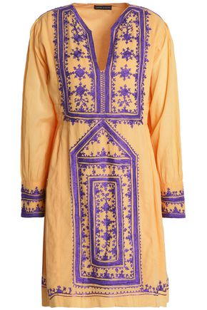 ANTIK BATIK Embroidered cotton-voile mini dress