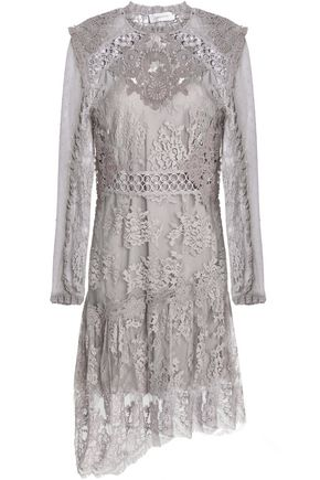 ZIMMERMANN Stranded appliquéd Swiss-dot tulle and cotton-blend lace dress