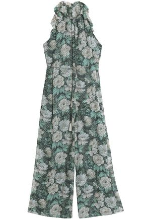 ZIMMERMANN Cropped fil coupé floral-print silk-blend georgette jumpsuit