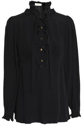 ZIMMERMANN Pussy-bow ruffle-trimmed crepe de chine shirt