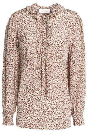 ZIMMERMANN Ruffle-trimmed floral-print silk crepe de chine blouse
