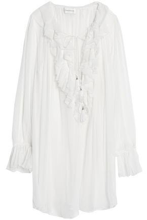 ZIMMERMANN Ruffled crinkled silk-chiffon blouse
