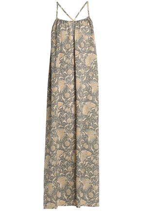 VINCE. Pleated printed silk-crepe maxi dress