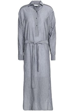 VINCE. Belted striped cotton-poplin shirt dress