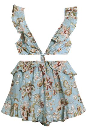 ZIMMERMANN Open-back floral-print cotton and silk-blend playsuit