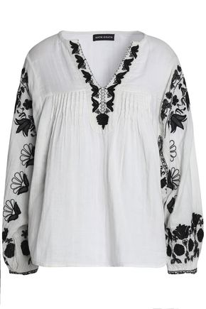 ANTIK BATIK Embroidered cotton-crepe tunic