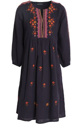 ANTIK BATIK Embroidered gathered cotton-gauze dress