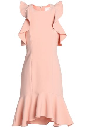 CINQ À SEPT Cold-shoulder ruffle-trimmed crepe mini dress