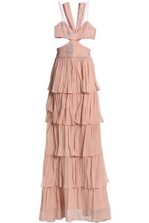 CINQ À SEPT Cutout embroidered crepe-paneled tiered silk-chiffon gown