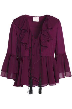 CINQ À SEPT Pacifique ruffled silk-chiffon peplum blouse