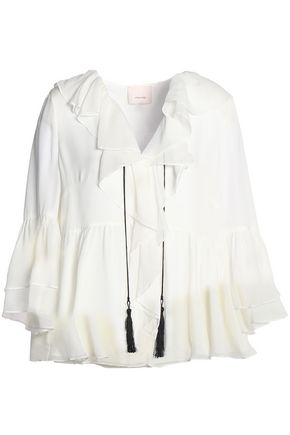 CINQ À SEPT Tasseled ruffled silk-georgette blouse
