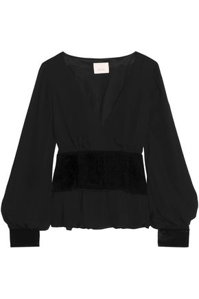 CINQ À SEPT Wrap-effect velvet-paneled crepe de chine top