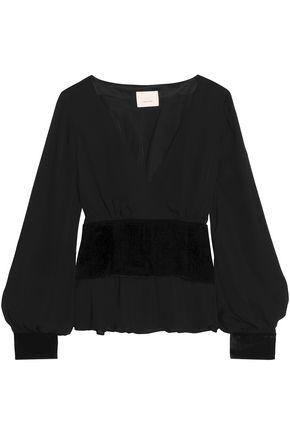 CINQ À SEPT Wrap-effect velvet-paneled belted crepe blouse