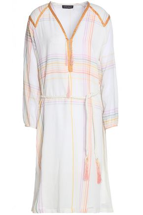 ANTIK BATIK Tasseled embroidered checked cotton-voile dress